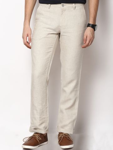 Turtle Beige Slim Fit Trouser at cilory
