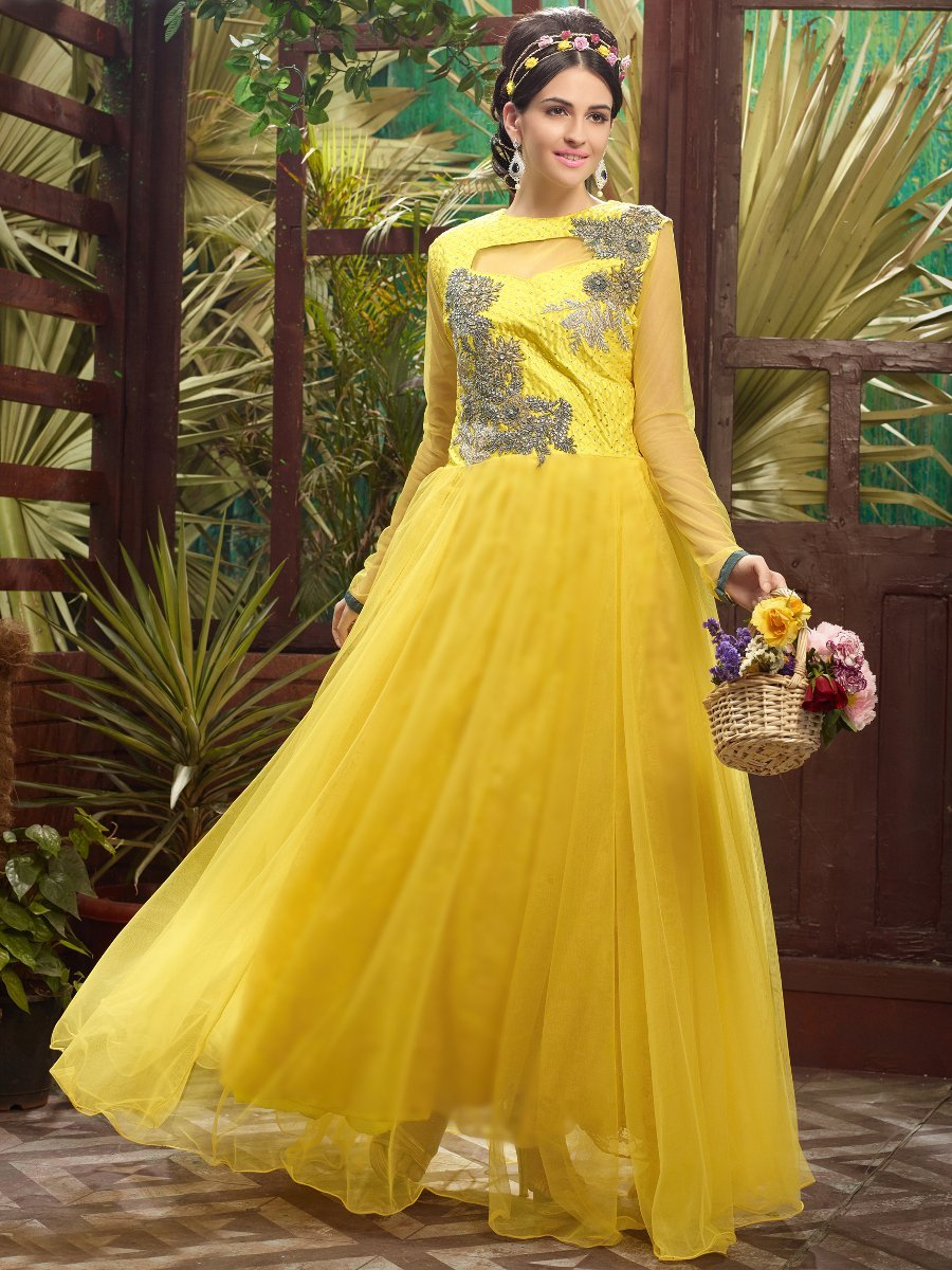 Sayna Yellow Semi Stitched Party Wear Suit Sayna 1011