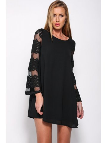 https://static1.cilory.com/159606-thickbox_default/flared-sleeves-o-neck-double-layered-black-shift-dress.jpg