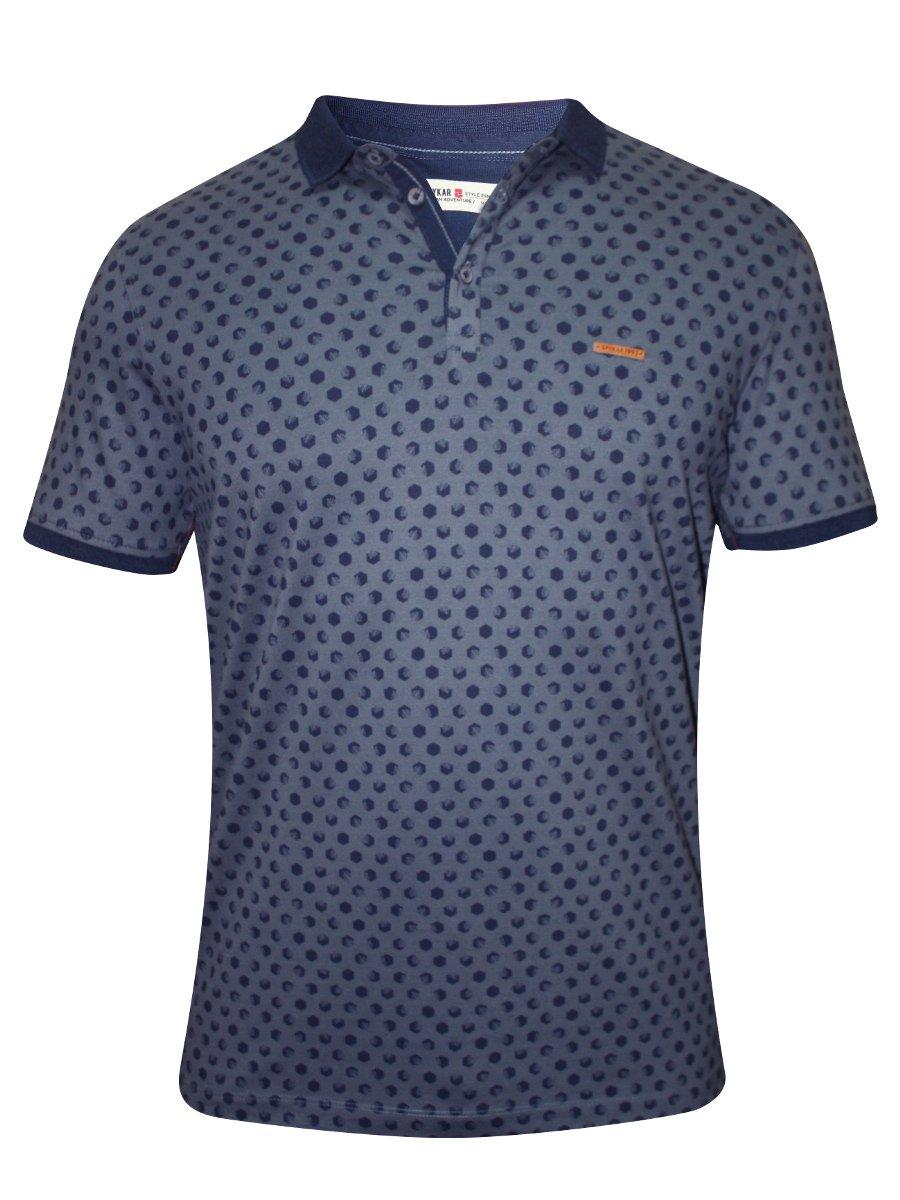Spykar Blue Printed Polo T Shirt Rts S16 72 Grey