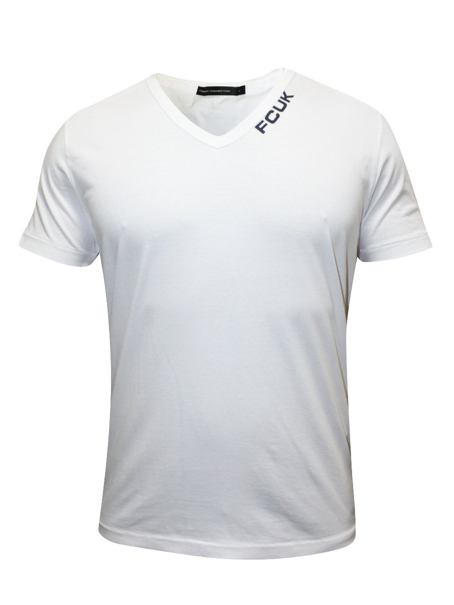 Fcuk white v neck t shirt 56et9 white for Thick v neck t shirts