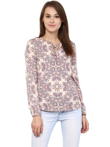 Harpa Beige Printed Top at cilory