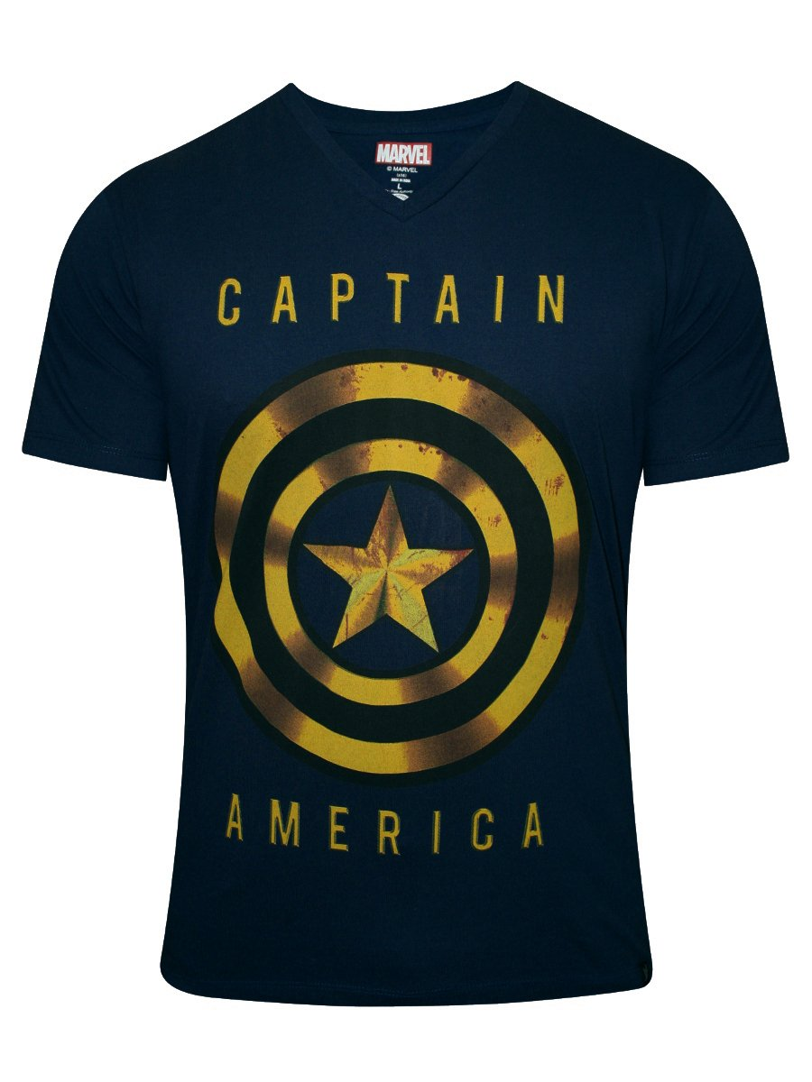 buy t shirts online captain america navy v neck t shirt ca1dmt756. Black Bedroom Furniture Sets. Home Design Ideas