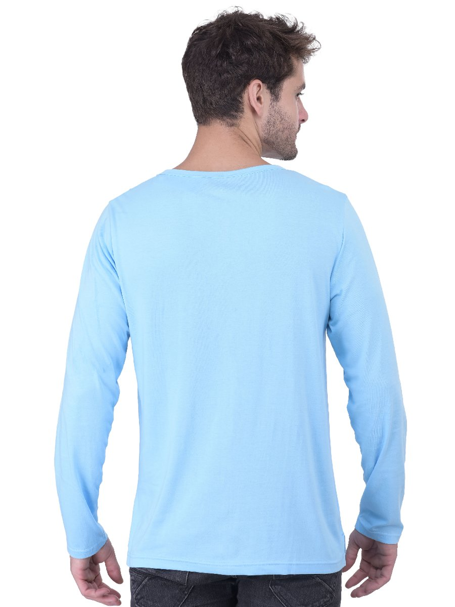 Nologo Sky Blue Full Sleeves Henley T-shirt | Nologo-hnf-013 ...