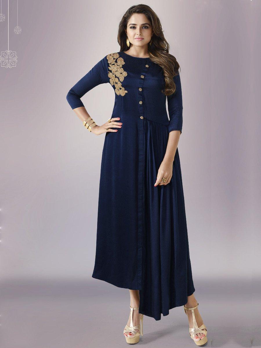 Nitya Navy Blue Designer Kurti | Ltnitya-801 | Cilory.com