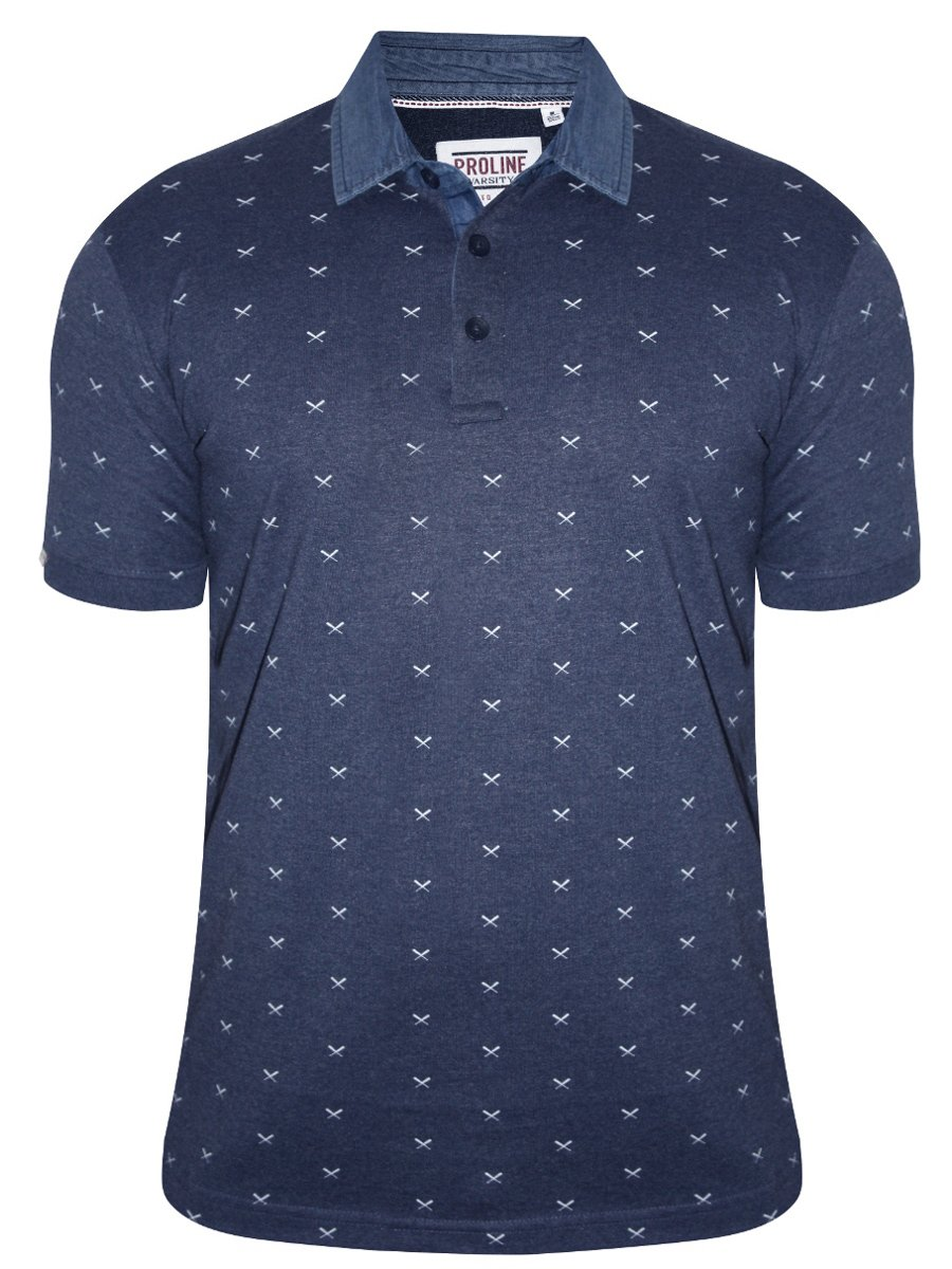 proline blue printed polo t shirt pv11225 nbml