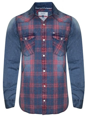 Lawman Pg3 Blue Denim Shirt With Hood at cilory
