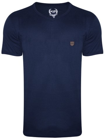 Monte Carlo C&D Navy Blue V Neck T-Shirt at cilory