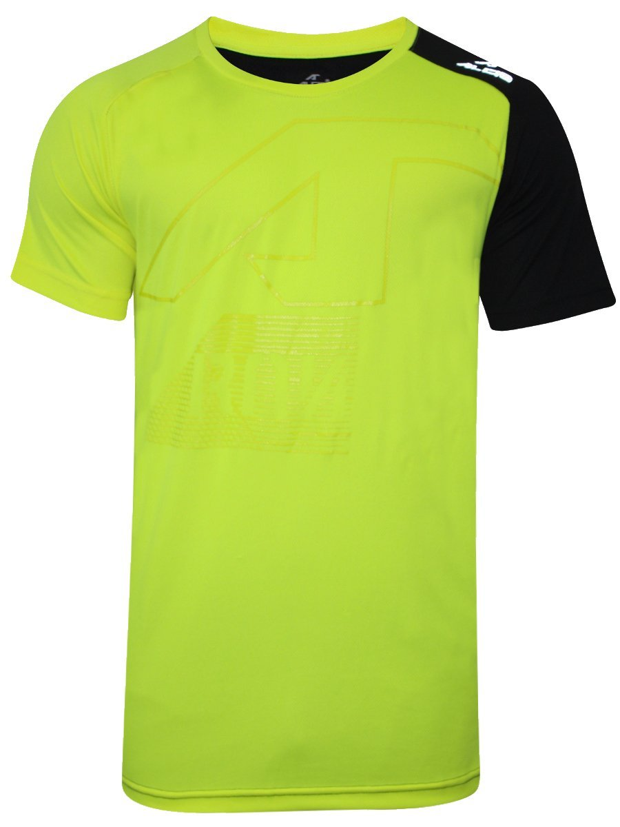 Alcis Neon Yellow & Black Round Neck T-shirt ...