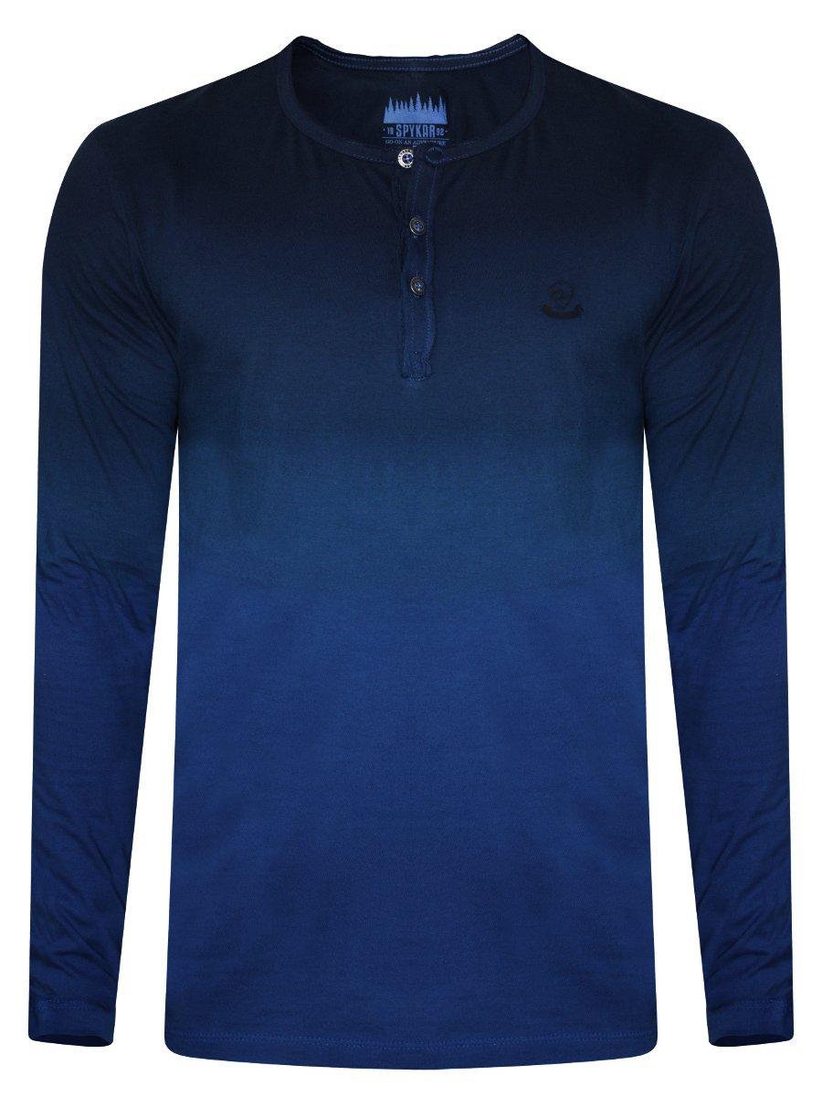 Spykar Blue Dual Shade Henley Full Sleeves T-shirt  3d5cb90a411
