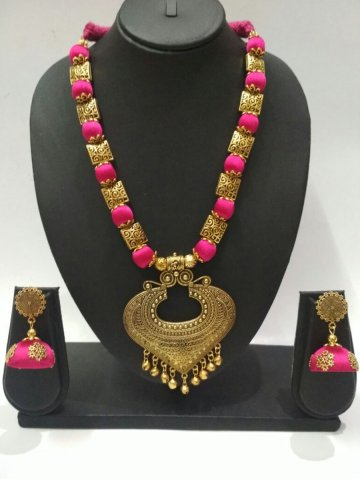 matching bangles silk and jhumkas necklace thread set red with