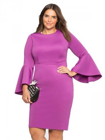 Fashion Round Neck Flare Sleeve Plus Size Dress W870831i Cilory