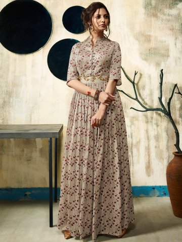Nitya Light Brown Designer Gown Style Kurti   Nitya-2801   Cilory.com