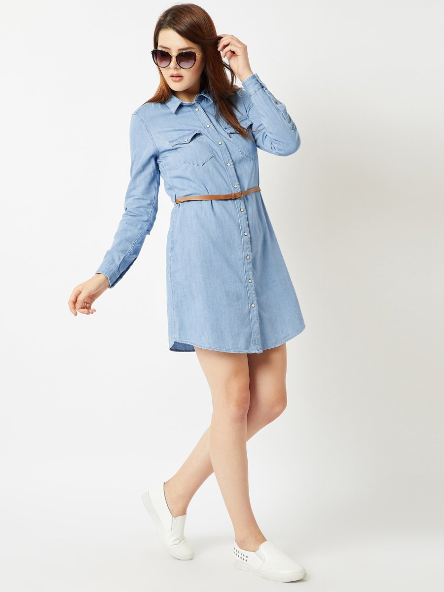 Levis Blue Denim Shirt Dress With Belt 59694 0001 Cilory