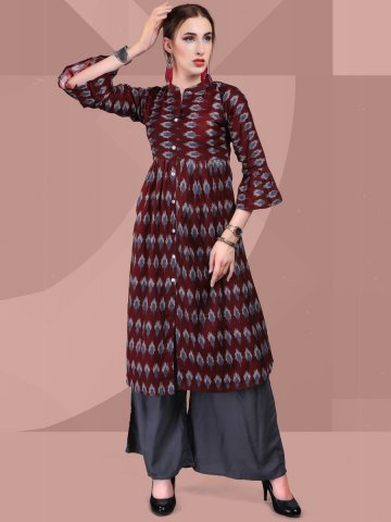 https://static3.cilory.com/358077-thickbox_default/ikat-maroon-grey-rayon-cotton-printed-kurti.jpg