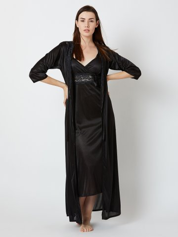 Estonished Black Long Nighty With Robe.  https   static7.cilory.com 363791-thickbox default estonished- 8922e8fca