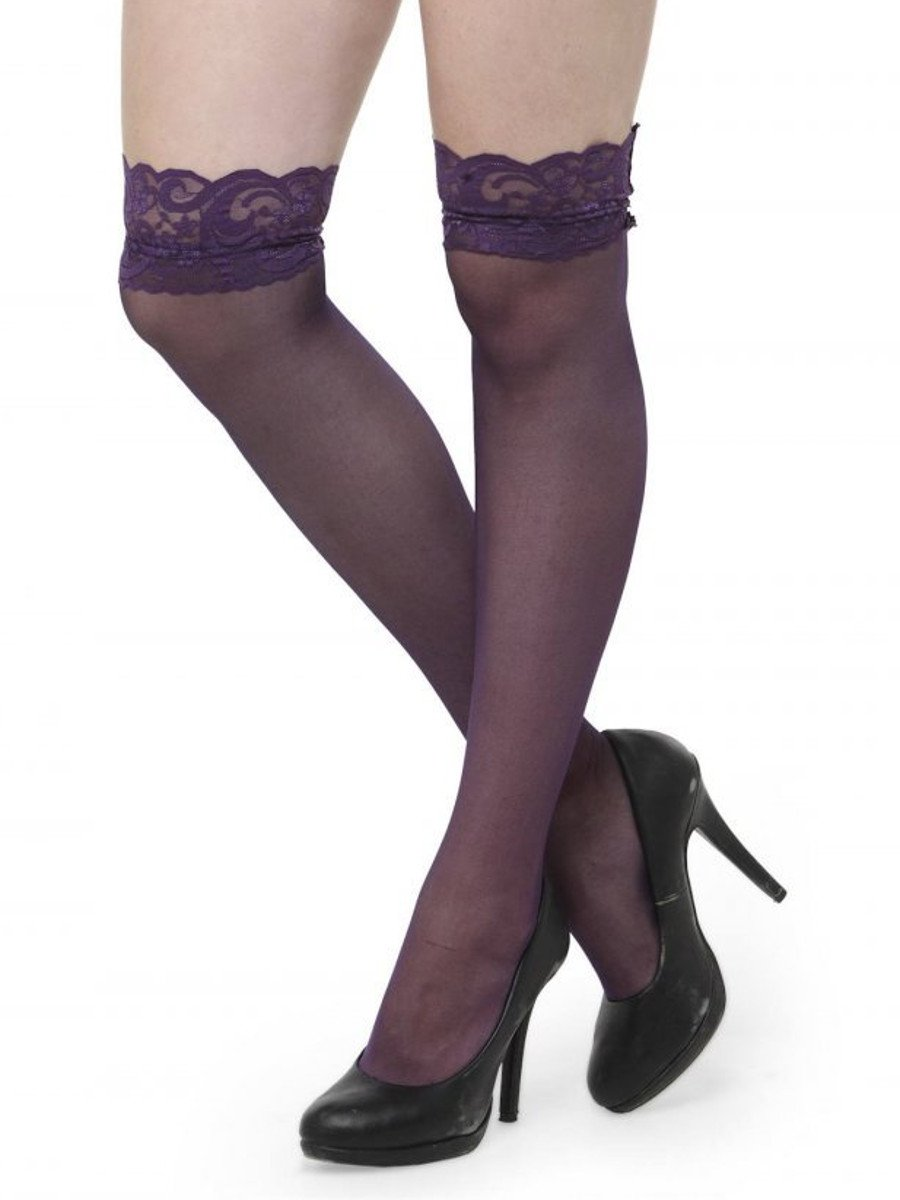 847f58a32 Lace Top Decoration Sheer Purple Knee Socks Lingerie Thigh High ...