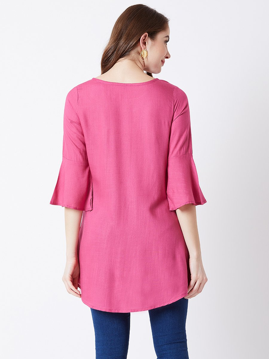 Estonished Pink Machine Embroidered Tunic