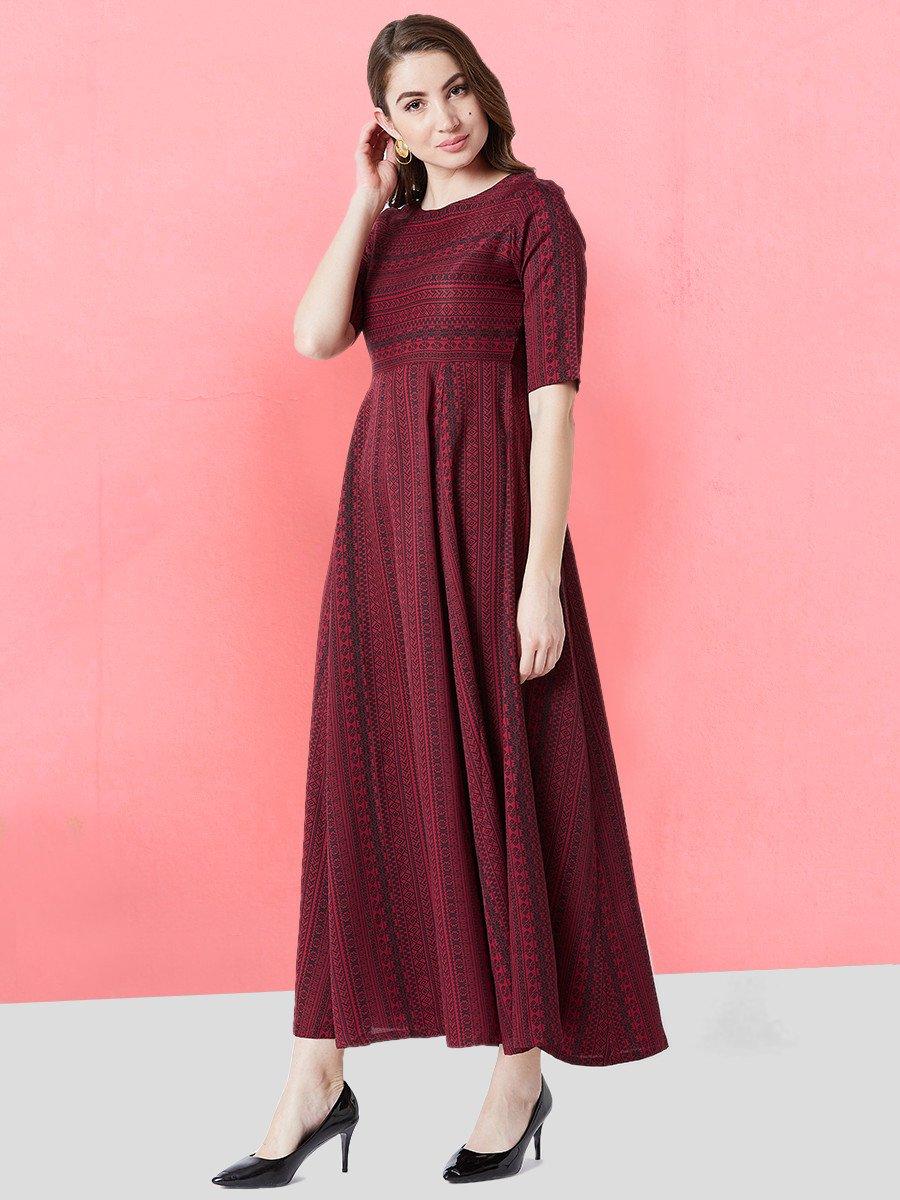 1ea9c2998250 Estonished Maroon Printed Maxi Dress | Est-ga-02 | Cilory.com