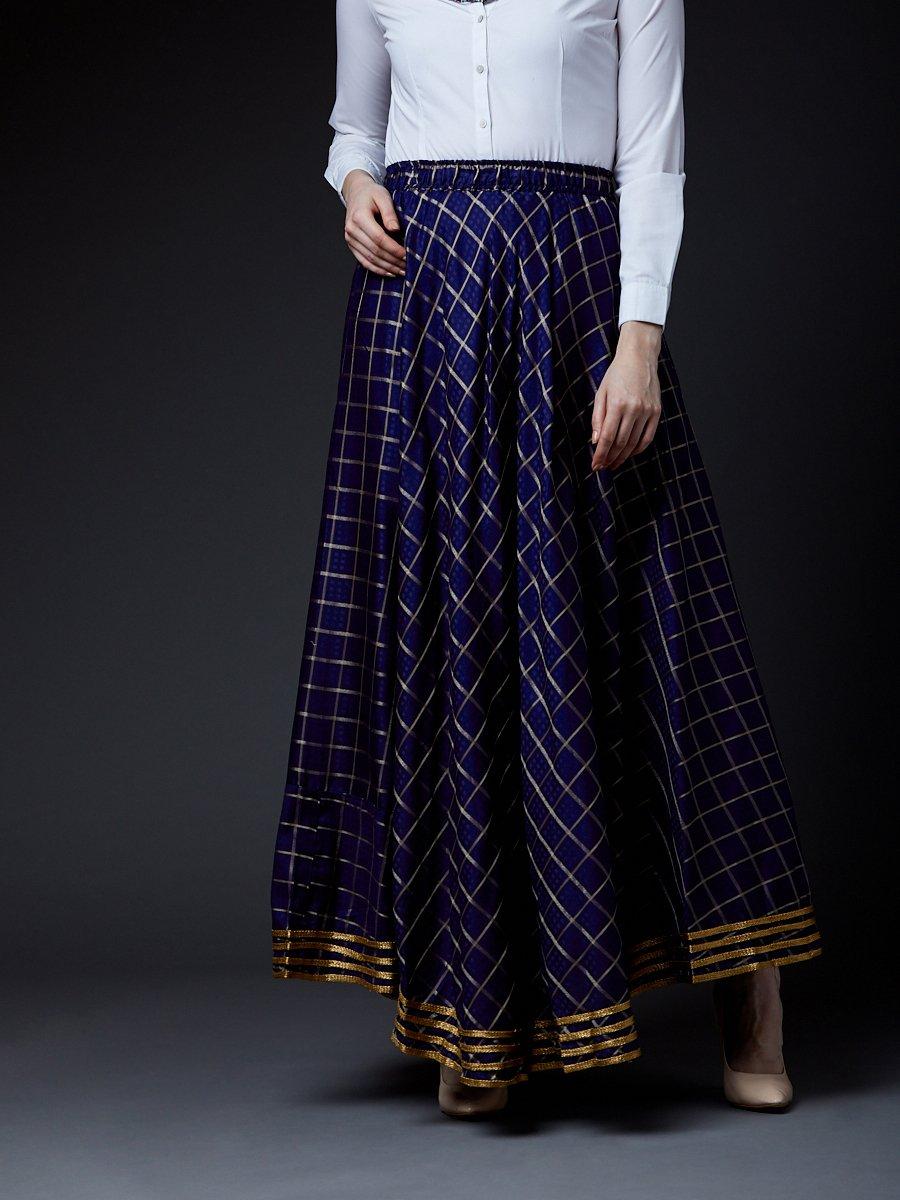 a766ee58f Estonished Navy Blue Zari Checks Long Skirt
